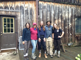 The Forest and Fire Ecology Lab (Left to right: Emily Babl, Heather Alexander, Evie Von Boeckman, Brian Izbicki, and Rachel Arney) after a hard day in the field at Bernheim Arboretum and Research Forest, KY.